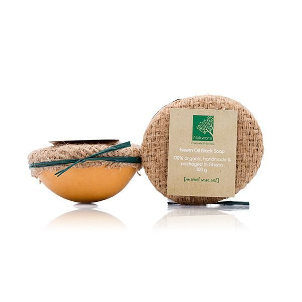 An image of our Neem Oil Black Soap in Eco Friendly Calabash Packaging by Nokware Skincare