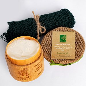 This is an image of the products that are in our save on sets - skin heroes. It contains neem oil black soap, ginger & moringa butter and an exfoliating sponge