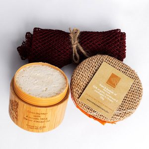 The images show the products that are in our Save on Sets - Nokware's Must Haves. It contains our shea & baobab black soap, avocado & almond butter shea butter and an exfoliating sponge