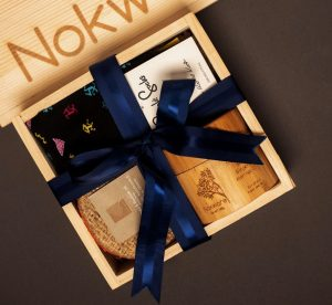 An image of our mini box for him with the contents of the box displayed