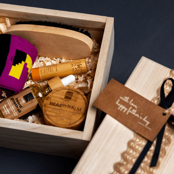 An Image of Beard Box (beard oil & balm, lip balm, pair of sock, brush) - Nokware Skincare