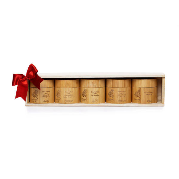 Five Bamboo Packaged Shea Butters in a Wooden Gift Set - Nokware