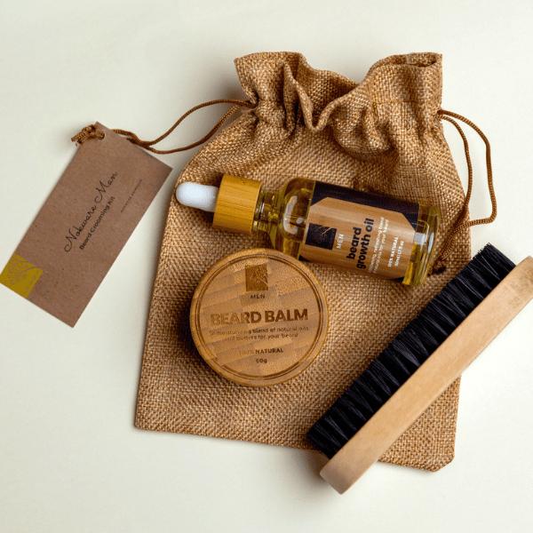 Nokware Beard Grooming Kit - Beard oil, beard balm and brush in eco-friendly jute pouch
